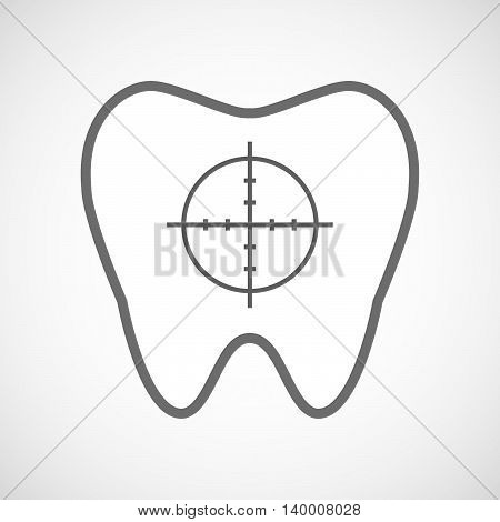 Isolated Line Art Tooth Icon With A Crosshair