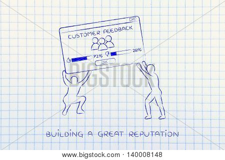 Men Lifting Pop-up With Feedback Customer Satisfaction Results