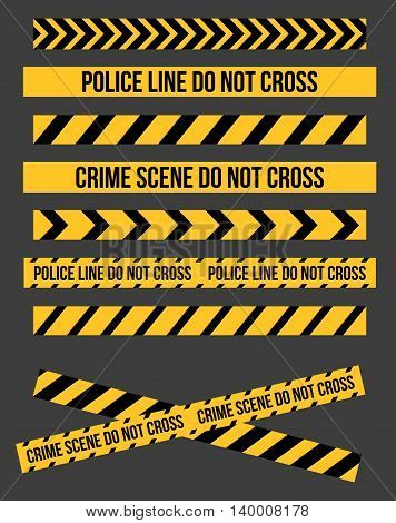 Vector set of Danger and Police Tape Lines for restriction and dangerous zones, construction site, crime places