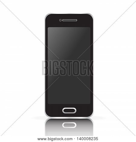 Vector black realistic mobile phone, smartphone isolated on white background.