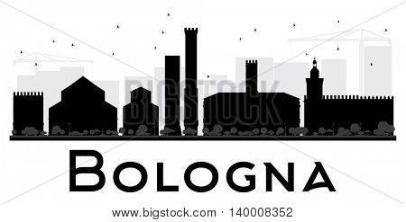 Bologna City skyline black and white silhouette. Vector illustration. Simple flat concept for tourism presentation, banner, placard or web site. Business travel concept. Cityscape with landmarks