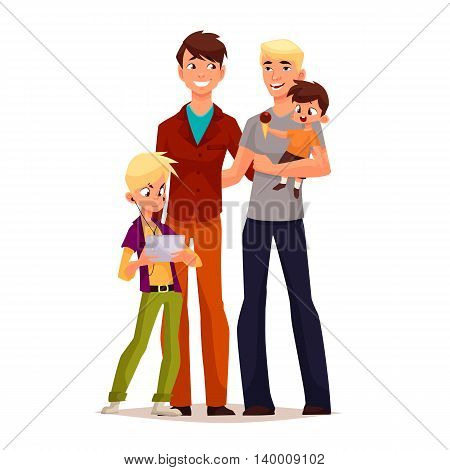 family gay men with children, illustration comic cartoon isolated on a white background, gay couple to adopt children happy family and a free gay men, a pair of men, adoption of children