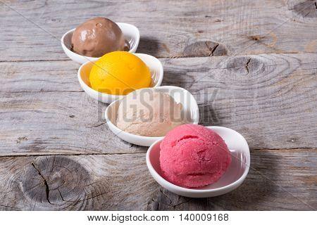 Different flavours of sorbetto balls ice cream