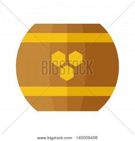 Wooden barrel with honey hundredth symbol concept vector in flat style design. illustration for application icons, apiary logotype, food packaging, infographics. Isolated on white background.
