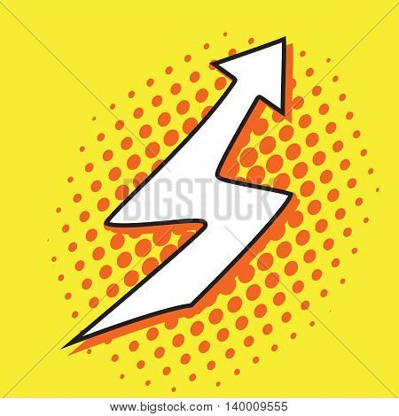 White pop art arrow on yellow background