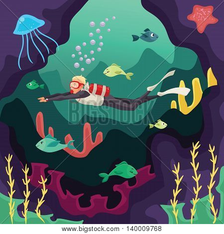 Scuba diver swimming under water, cartoon illustration. Underwater sport scuba snorkeling, aquatic adventure. Beautiful marine landscape, fish and corals