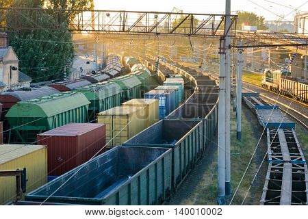 Train parking. Freight train arrived at the station