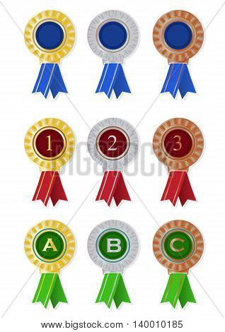 123 abc and blank medal with ribbon isolated