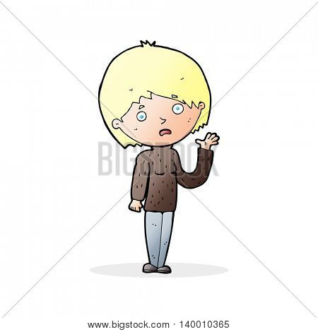cartoon worried woman