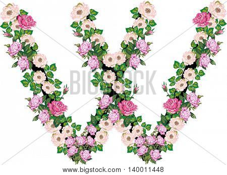 illustration with letter W from rose and brier flowers isolated on white background