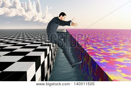 Computer generated 3D illustration with a jumping businessman
