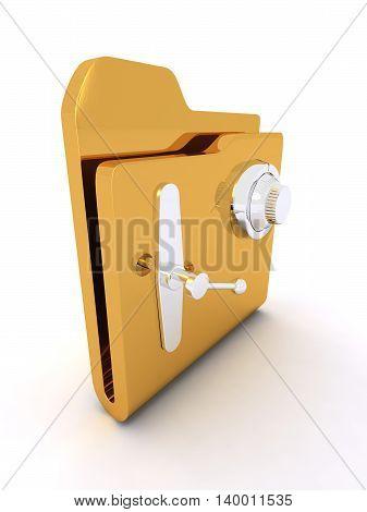 Computer icon for secure folder 3D illustration