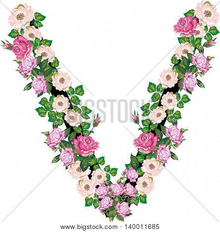 illustration with letter V from rose and brier flowers isolated on white background