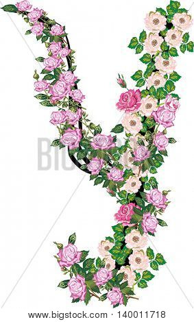 illustration with letter Y from rose and brier flowers isolated on white background