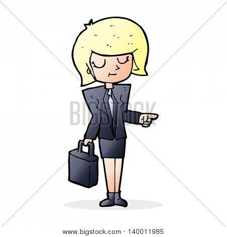 cartoon businesswoman pointing