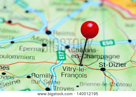 Vitry-le-Francois pinned on a map of France