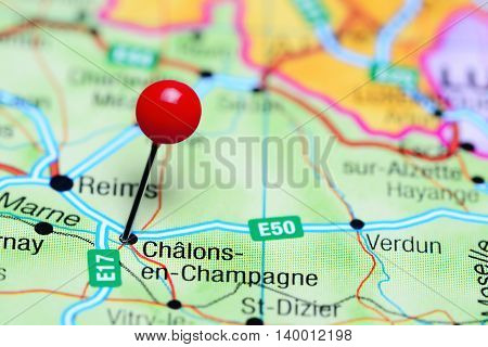 Chalons-en-Champagne pinned on a map of France