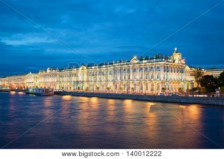 SAINT PETERSBURG, RUSSIA - JUNE 19, 2016: The Winter Palace from Palace embankment during the white nights. Historical landmark of the city Saint Petersburg