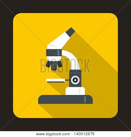 Microscope icon in flat style on a yellow background