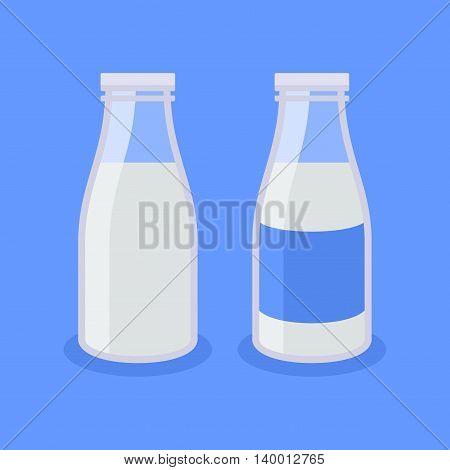 Flat Style Milk Bottle Icon on Blue Background. Vector illustration