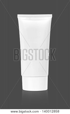 blank packaging cosmetic tube isolated on gray background with clipping path