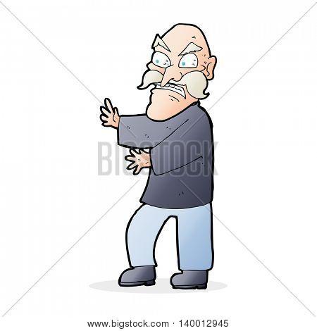 cartoon angry old man