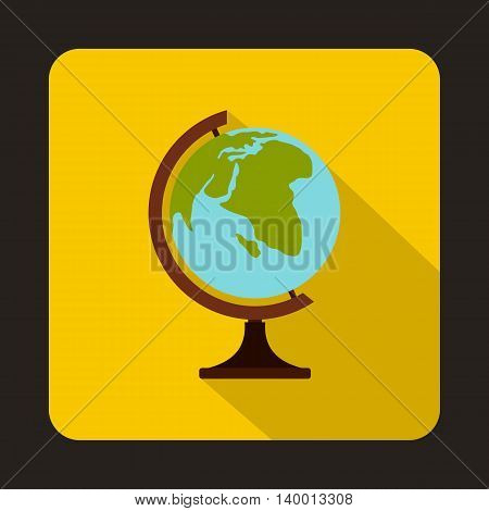 Globe icon in flat style on a yellow background