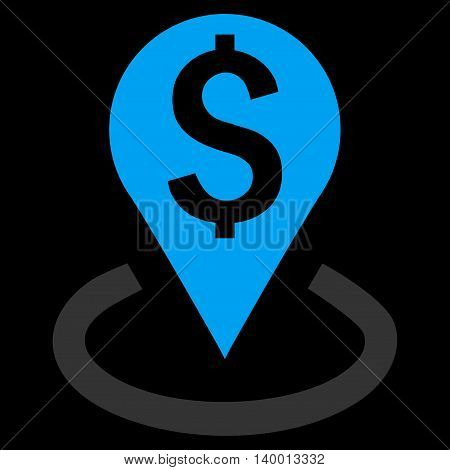 Bank Location vector icon. Style is flat symbol, blue color, black background.
