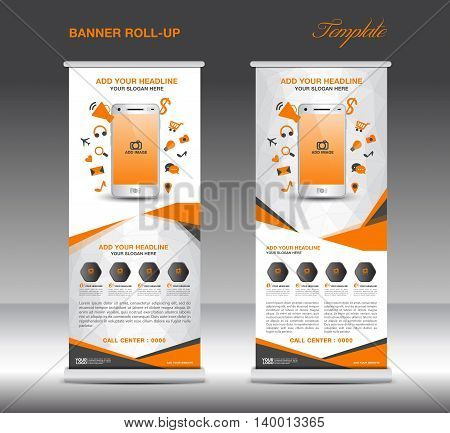 Orange Roll up banner template and Mobile infographics stand display advertisement flyer vector