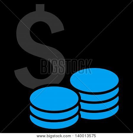 Dollar Cash vector icon. Style is flat symbol, blue color, black background.