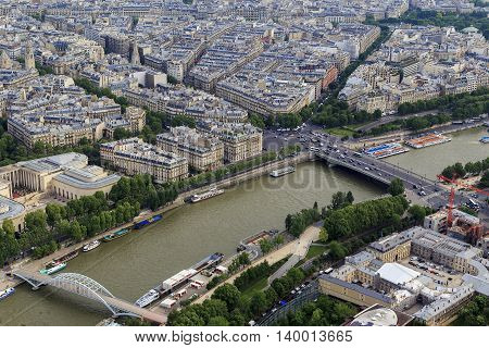 PARIS, FRANCE - MAY 12, 2015: This is an aerial view of the bend of the Seine near the Alma Bridge.
