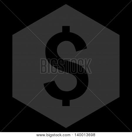 Dollar Hexagon vector icon. Style is flat symbol, blue color, black background.