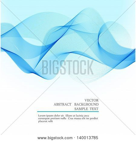 Abstract vector background blue transparent waved lines for brochure website flyer design. Blue smoke wave. Blue wavy background.