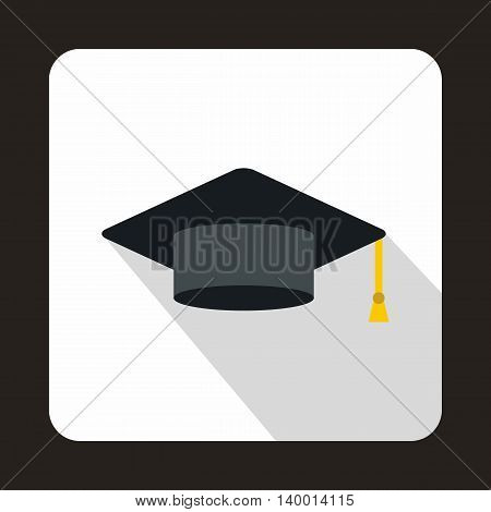 Graduation cap icon in flat style on a white background