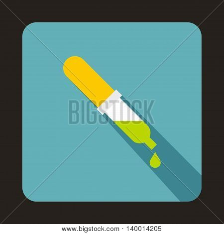 Pipette icon in flat style on a baby blue background