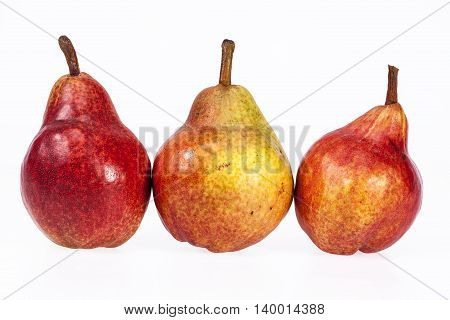Three fruits of red pear isolated on white background.