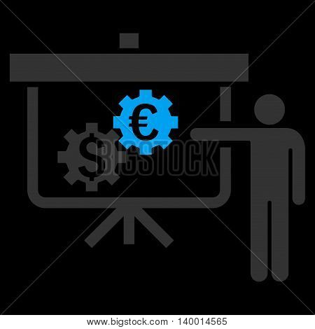 International Banking Project vector icon. Style is flat symbol, blue color, black background.