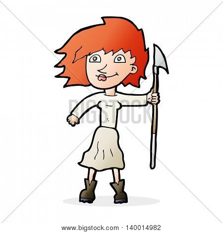 cartoon woman with spear