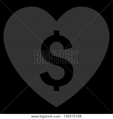 Paid Love vector icon. Style is flat symbol, blue color, black background.