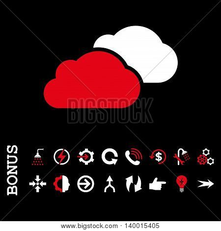 Clouds vector bicolor icon. Image style is a flat pictogram symbol, red and white colors, black background.
