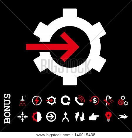 Cog Integration vector bicolor icon. Image style is a flat iconic symbol, red and white colors, black background.