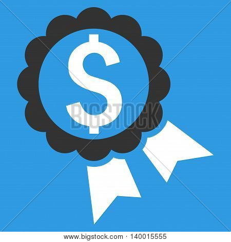 Bank Award vector icon. Style is flat symbol, white color, blue background.