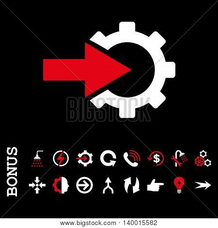 Cog Integration vector bicolor icon. Image style is a flat pictogram symbol, red and white colors, black background.