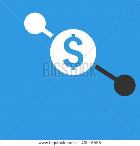 Bank Branches vector icon. Style is flat symbol, white color, blue background.