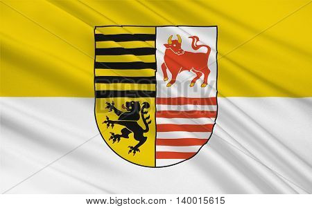 Flag of Elbe-Elster is a district in the southern part of Brandenburg Germany. 3d illustration