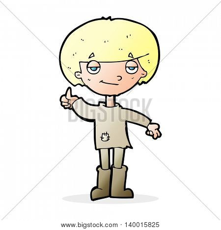 cartoon boy in poor clothing giving thumbs up symbol
