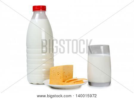 Cheese with milk in glass on white background