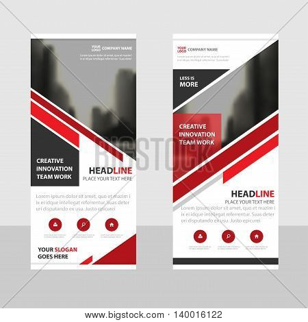 Red triangle Business Roll Up Banner flat design template Abstract Geometric banner template Vector illustration set abstract presentation brochure flyer template vertical template vector