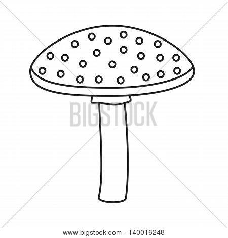 Line icon mushroom isolated on white background. Vector illustration.