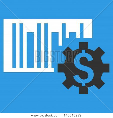 Barcode Price Setup vector icon. Style is flat symbol, white color, blue background.